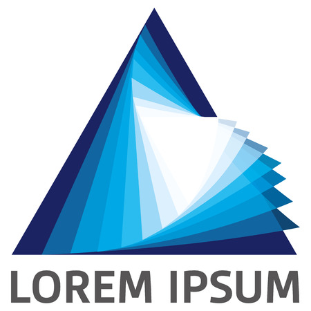 information symbol: Icon geometric symbol prism pyramid or triangle. Ideal for visual communication, information and institutional materials