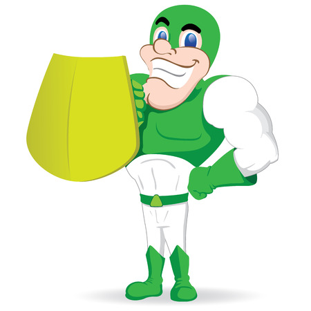 Person in green superhero uniform. Ideal for educational, educational and institutional equipment