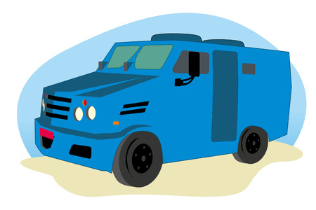 belongings: Illustration representing an armored vehicle, armored car to transport values Illustration
