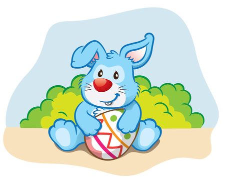 Illustration Easter bunny holding a easter egg. Ideal for celebratory events and institutional