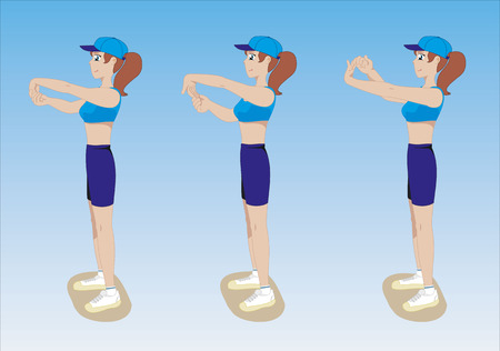 Illustration of a girl showing physical stretching exercises