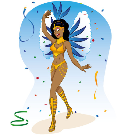 revelry: Character woman dancer of Brazilian carnival with fantasy. Ideal for information on cultural, tourism and institutional events Illustration