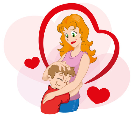 Illustration is an affectionate hug between mother and child