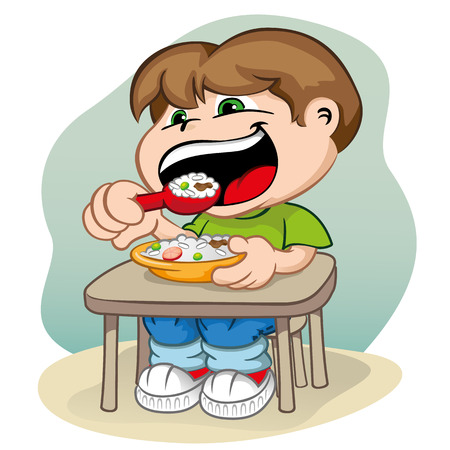 cuteness: Illustration depicting a child sitting at the table feeding