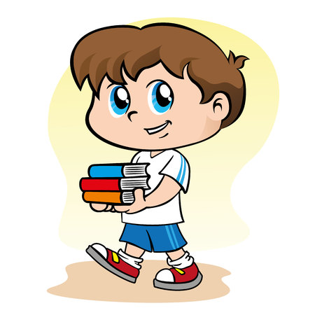 Illustration representing a child boy holding some books in his hands. Ideal for educational and institutional materials