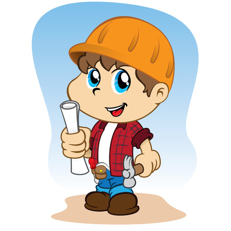 joking: Illustration of a child dressed professional contractor, builder or architect with tools in hand