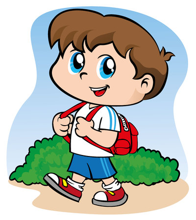 Illustration depicting a child with a backpack going to school