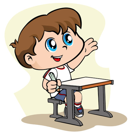 studious: Illustration representing a child raising his arm to catch the attention of the teacher. Ideal for educational and institutional materials Illustration