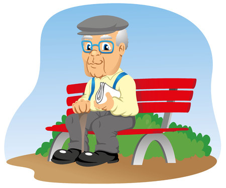 old newspaper: elderly sitting on the park bench Illustration