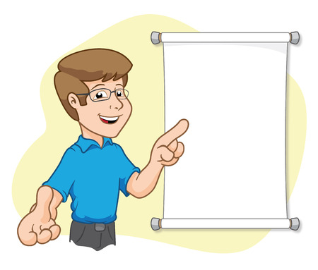 depicts: Illustration depicts a man with poster explaining. Ideal for training and presentations