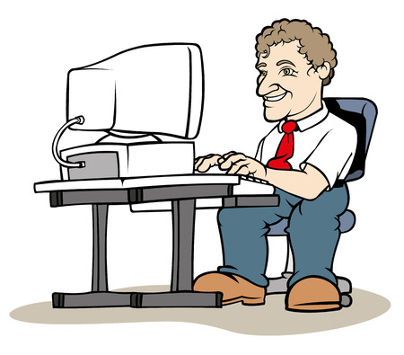 Illustration of a man sitting at the computer. Ideal for educational materials and institutional training Illustration