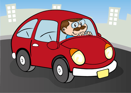 Illustration bespectacled man driving a red car on the street