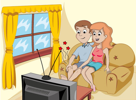 maniac: A couple sitting on his couch in the living room watching television Illustration