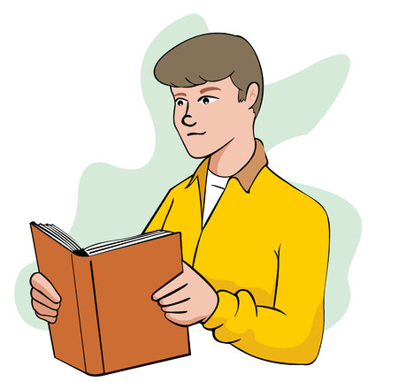 person reading: Illustration of person man reading book. Ideal for educational and training materials, institutional Illustration