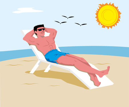 Person sunbathing in the sun, excessive, with danger of burns and skin cancer. Ideal for educational and training materials