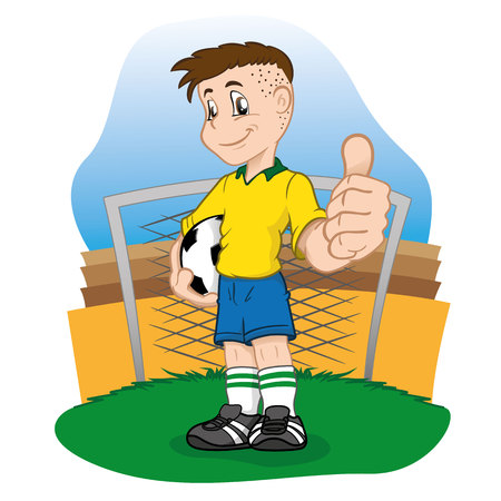 Young boy soccer player in uniform. Ideal for sports equipment and catalogs