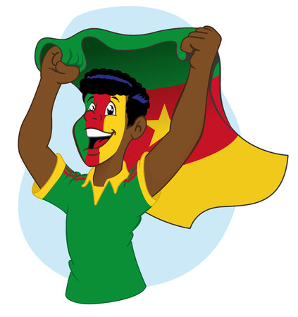 Man cameroonian supporter vibrating