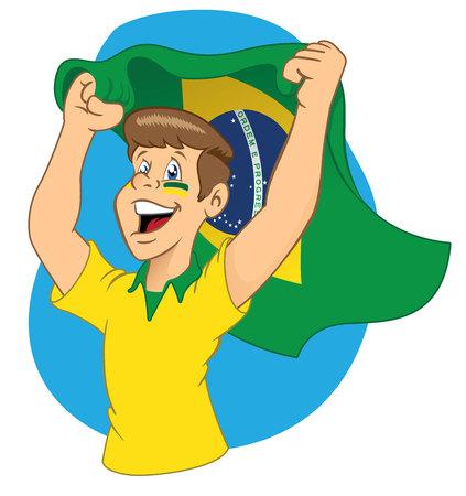 Man Brazilian fans vibrating Illustration