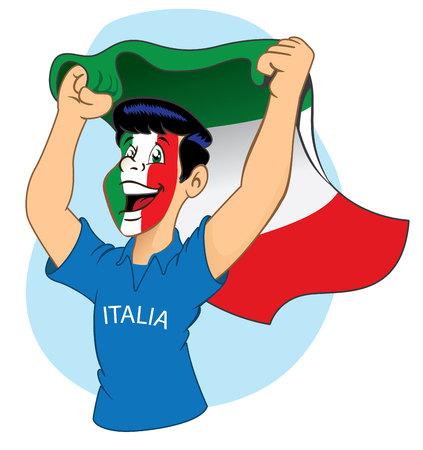 vibrating: Italian supporter vibrating Illustration