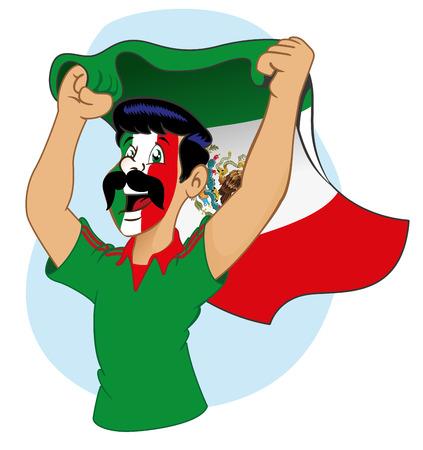 vibrating: Man Mexican supporter vibrating