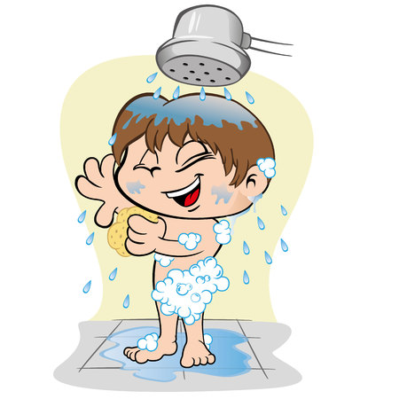 Illustrazione che rappresenta un bambino prendersi cura della propria igiene personale, fare un bagno Archivio Fotografico - 71497896