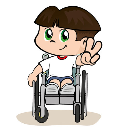 child boy: Illustration of a child with special needs boy in a wheelchair