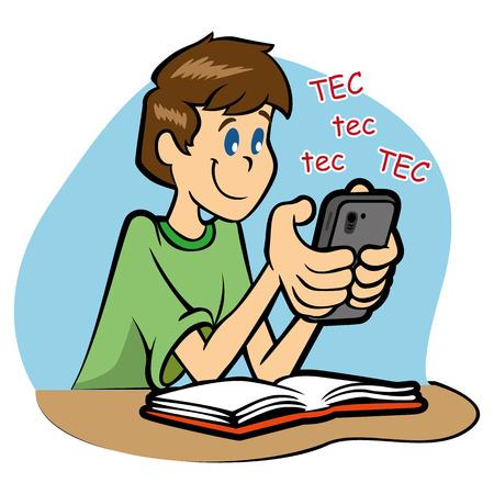 Estudiante que usa el teléfono inteligente Durante la clase Ilustración de vector