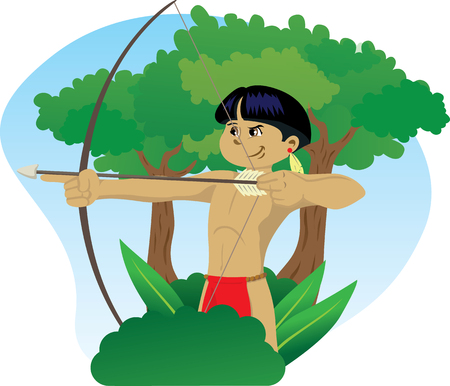Illustration representing Indigenous Child of Brazilian culture, wielding a bow and arrow in the forest of Brazil Stock Illustratie