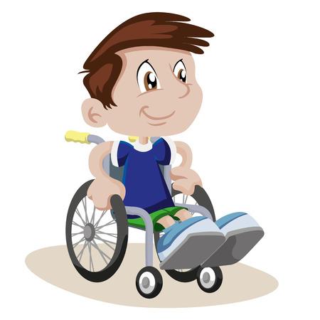 Junge in einem Rollstuhl Standard-Bild - 71497939