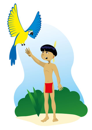 Illustration representing Indigenous Child of Brazilian culture, playing with a bird fauna of Brazil
