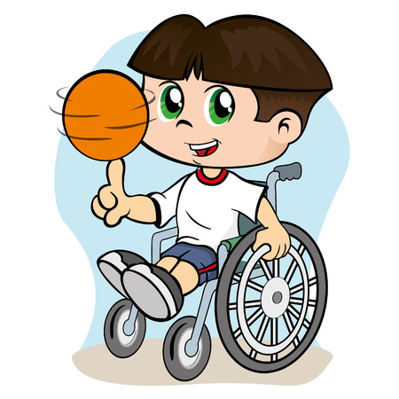Illustration of a child with special needs boy in a wheelchair practicing sport
