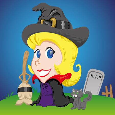 female girl: female mascot, blonde girl witch with broom and black cat. Ideal for celebratory materials and institutional