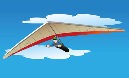 Illustration depicts a person flying a hang glider. Ideal for materials on radical institutional and sports