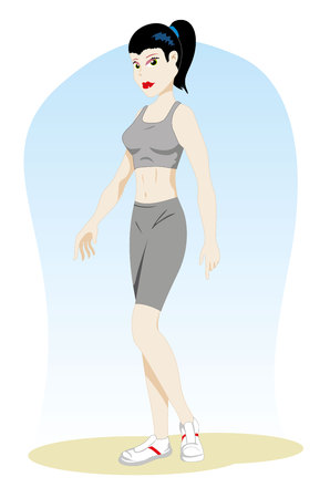 Illustration Represents a woman person, with gym clothes, sportsman. Ideal for sports and institutional materials