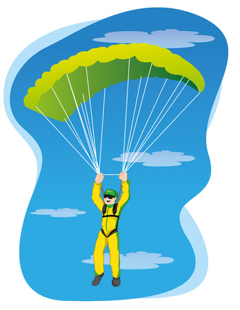 Illustration Represents the people, jumping with a parachute. Ideal for materials about extreme sports and institutional