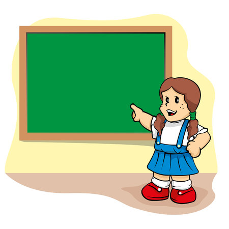 studious: Person student pointed to the blackboard in the school class. Ideal for educational and training materials.