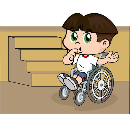 child boy: Illustration of a child with special needs boy in a wheelchair on a ladder