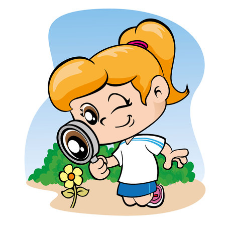 crocket: Illustration depicting a little girl watching flowers with a magnifying glass
