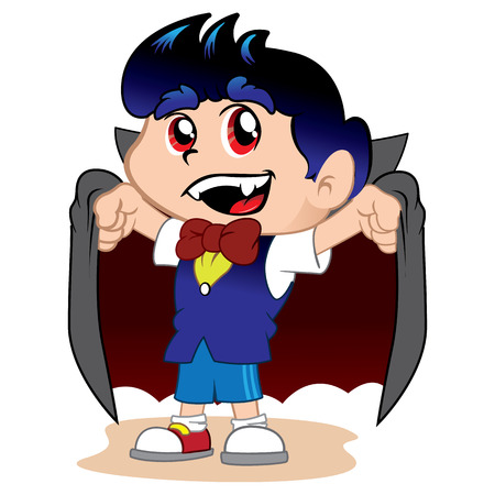 treating: Illustration representing costumed child count dracula for halloween