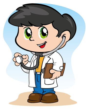cuteness: Illustration representing a uniform child doctor with stethoscope and clipboard