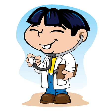 cuteness: Illustration representing the eastern uniform child doctor with stethoscope and clipboard