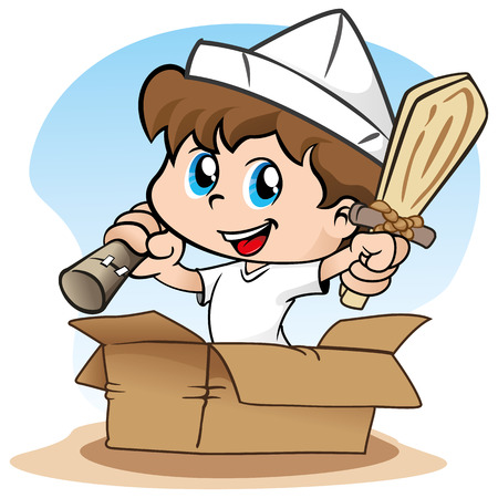 Illustration representing Child playing make believe and the pirate Illustration