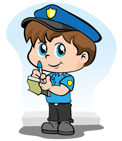 Illustration representing a child police uniform writing a fine or warning in your block of notes