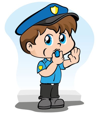 Illustration representing a child uniform of a policeman with a whistle in the mouth signaling to stop Illustration