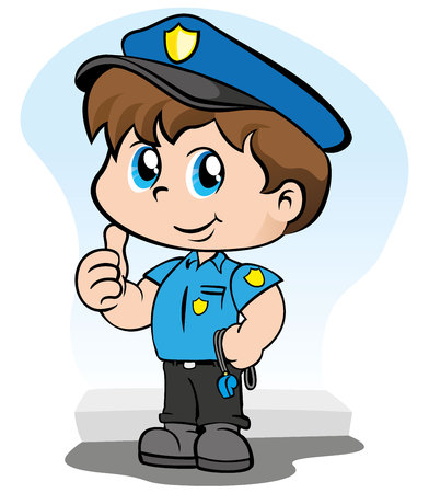 Illustration representing a child police uniform holding a whistle and making an ok sign with her hand Illustration