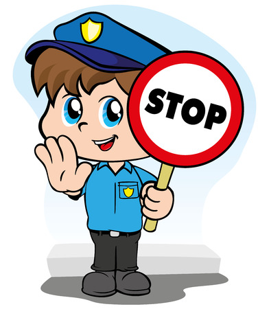 cuteness: Illustration representing a child police uniform with a sign signaling to stop Illustration