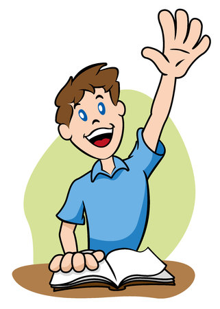 Illustration representing a child raising his arm to catch the attention of a teacher