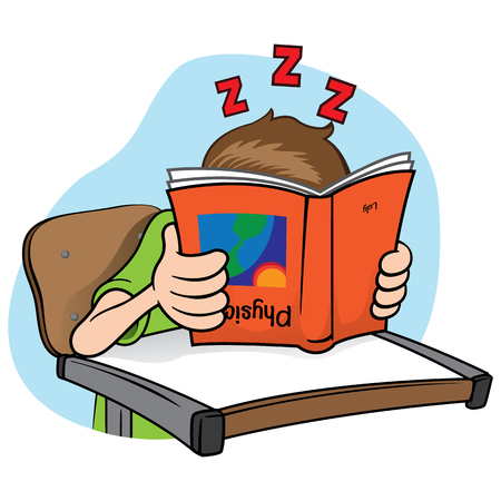 que: Illustration of a person pretending que student is studying, sleeping but hidden behind the book.