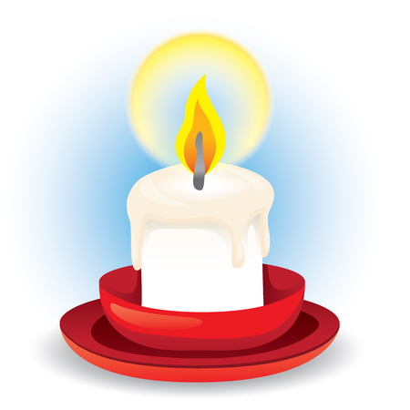 Illustration depicts a candle accessed on the saucer. Ideal for educational and institutional materials Illustration