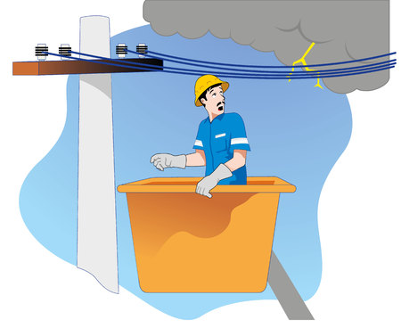 rain storm: Safety at work, employee raised safety in a basket, facing problems with rain, storm. Ideal for training and educational materials Illustration